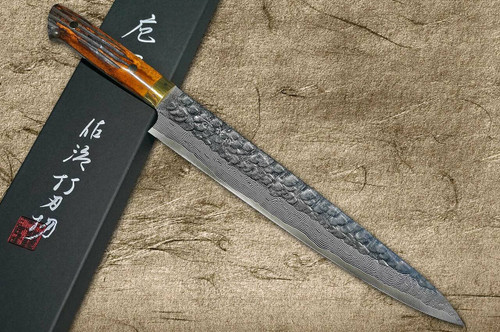 Takeshi Saji VG10 Mirror Hammered Damascus DHM Japanese Chefs SlicerSujihiki 270mm with Brown Antler Handle