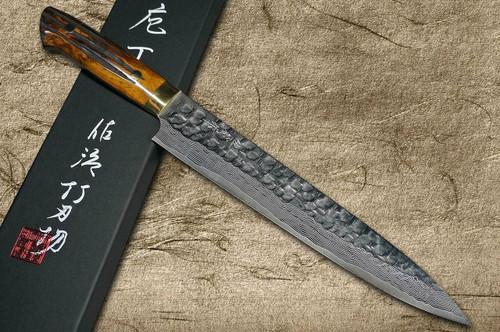 Takeshi Saji VG10 Mirror Hammered Damascus DHM Japanese Chefs SlicerSujihiki 240mm with Brown Antler Handle