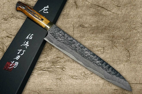 Takeshi Saji VG10 Mirror Hammered Damascus DHM Japanese Chefs Gyuto Knife 270mm with Brown Antler Handle