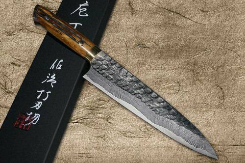 Takeshi Saji VG10 Mirror Hammered Damascus DHM Japanese Chefs Gyuto Knife 180mm with Brown Antler Handle