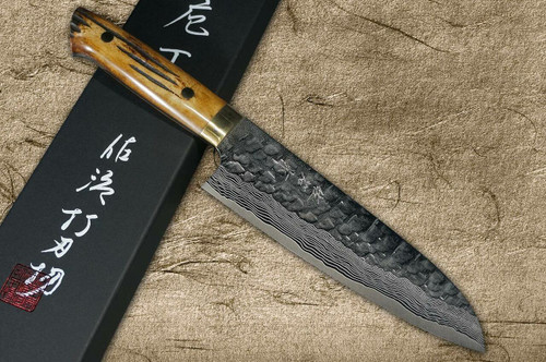 Takeshi Saji VG10 Mirror Hammered Damascus DHM Japanese Chefs Santoku Knife 180mm with Brown Antler Handle
