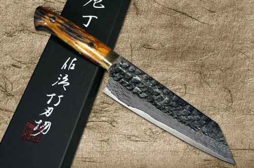 Takeshi Saji VG10 Mirror Hammered Damascus DHM Japanese Chefs Bunka Knife 180mm with Brown Antler Handle