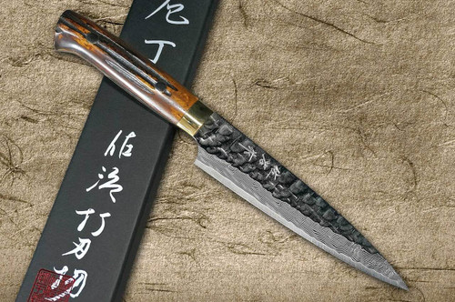 Takeshi Saji VG10 Mirror Hammered Damascus DHM Japanese Chefs Petty KnifeUtility 150mm with Brown Antler Handle