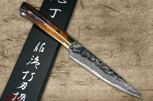 Takeshi Saji VG10 Mirror Hammered Damascus DHM Japanese Chefs Petty KnifeUtility 130mm with Brown Antler Handle