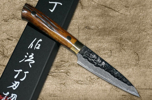 Takeshi Saji VG10 Mirror Hammered Damascus DHM Japanese Chefs Petty KnifeUtility 90mm with Brown Antler Handle