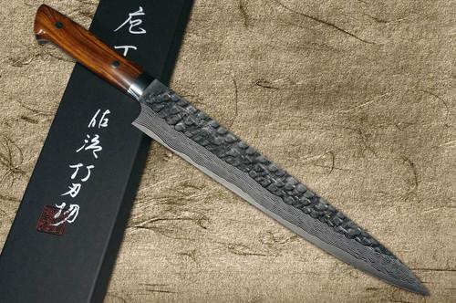 Takeshi Saji VG10 Mirror Hammered Damascus IRN Japanese Chefs SlicerSujihiki 270mm with Desert Ironwood Handle