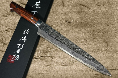 Takeshi Saji VG10 Mirror Hammered Damascus IRN Japanese Chefs SlicerSujihiki 240mm with Desert Ironwood Handle