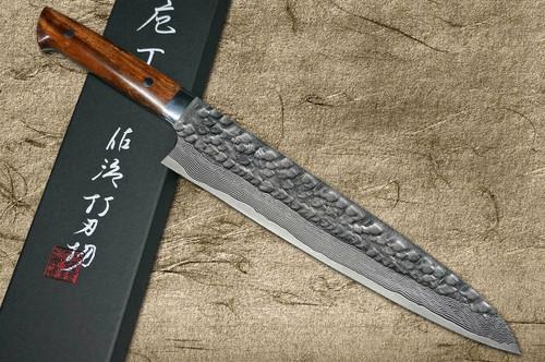Takeshi Saji VG10 Mirror Hammered Damascus IRN Japanese Chefs Gyuto Knife 270mm with Desert Ironwood Handle