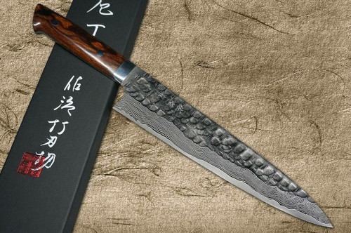Takeshi Saji VG10 Mirror Hammered Damascus IRN Japanese Chefs Gyuto Knife 240mm with Desert Ironwood Handle
