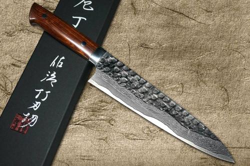 Takeshi Saji VG10 Mirror Hammered Damascus IRN Japanese Chefs Gyuto Knife 180mm with Desert Ironwood Handle