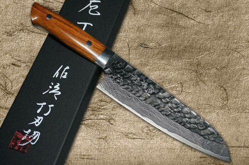 Takeshi Saji VG10 Mirror Hammered Damascus IRN Japanese Chefs Santoku Knife 180mm with Desert Ironwood Handle