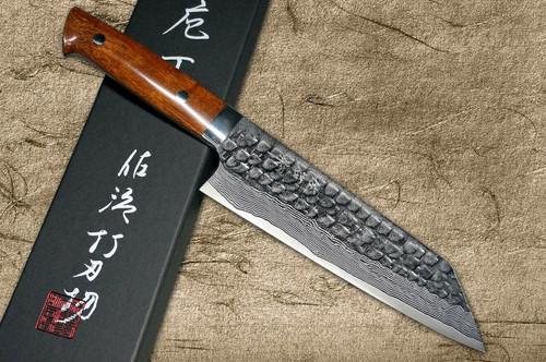 Takeshi Saji VG10 Mirror Hammered Damascus IRN Japanese Chefs Bunka Knife 180mm with Desert Ironwood Handle