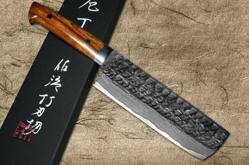 Takeshi Saji VG10 Mirror Hammered Damascus IRN Japanese Chefs NakiriVegetable 170mm with Desert Ironwood Handle