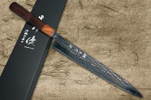 Yu Kurosaki R2SG2 Hammered SENKO WA RS8H Japanese Chefs SlicerSujihiki 270mm with Brown-Ring Octagonal Handle
