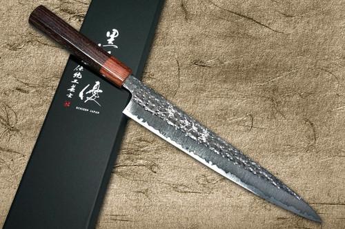 Yu Kurosaki R2SG2 Hammered SENKO WA RS8H Japanese Chefs SlicerSujihiki 240mm with Brown-Ring Octagonal Handle