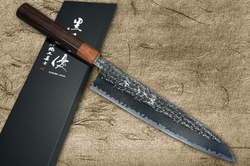 Yu Kurosaki R2SG2 Hammered SENKO WA RS8H Japanese Chefs Gyuto Knife 240mm with Brown-Ring Octagonal Handle