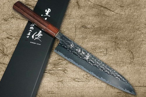 Yu Kurosaki R2SG2 Hammered SENKO WA RS8H Japanese Chefs Gyuto Knife 210mm with Brown-Ring Octagonal Handle