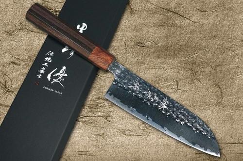Yu Kurosaki R2SG2 Hammered SENKO WA RS8H Japanese Chefs Santoku Knife 170mm with Brown-Ring Octagonal Handle