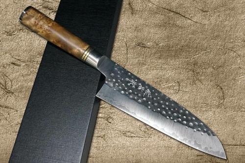 Takeshi Saji R2 Mirror Hammered KRN Japanese Chefs Santoku Knife 180mm with Karin Lump Handle