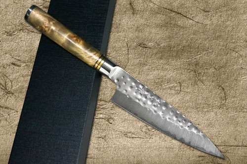 Takeshi Saji R2 Mirror Hammered KRN Japanese Chefs Petty KnifeUtility 130mm with Karin Lump Handle