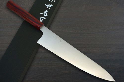 Kei Kobayashi R2 Special Finished CS Japanese Chefs Gyuto Knife 240mm with Red Lacquered Wood Handle