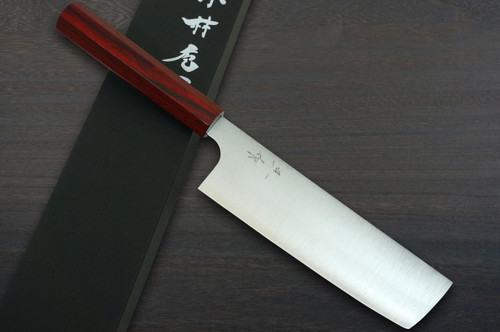 Kei Kobayashi R2 Special Finished CS Japanese Chefs NakiriVegetable 165mm with Red Lacquered Wood Handle