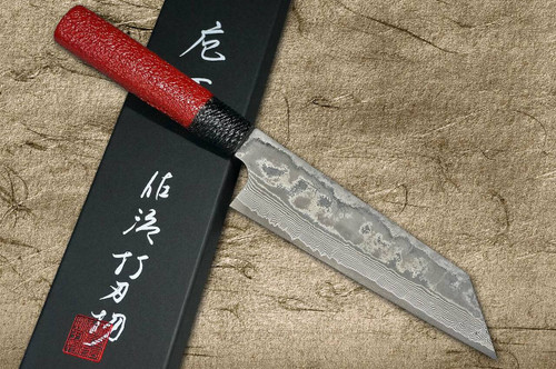 Takeshi Saji VG10 Black Damascus LL Japanese Chefs Bunka Knife 180mm with Black-Red Japanese Urushi Lacquered Handle