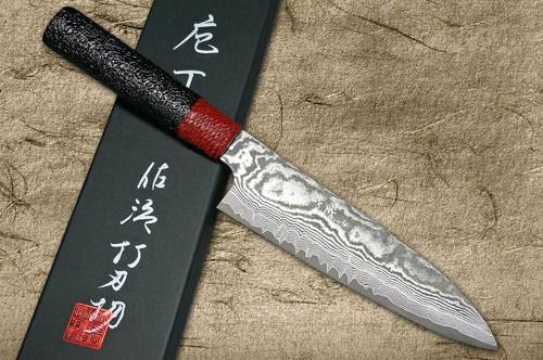 Takeshi Saji VG10 Black Damascus LL Japanese Chefs Gyuto Knife 180mm with Red-Black Japanese Urushi Lacquered Handle