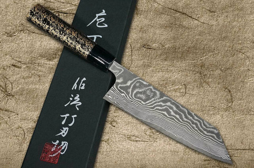 Takeshi Saji VG10 Black Damascus LC Japanese Chefs Bunka Knife 180mm with Black-Gold Japanese Urushi Lacquered Handle
