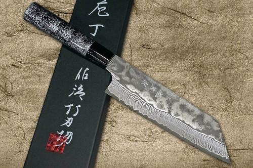 Takeshi Saji VG10 Black Damascus LC Japanese Chefs Bunka Knife 180mm with Black-Silver Japanese Urushi Lacquered Handle
