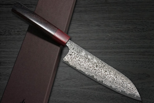 Yoshimi Kato 63 Layer VG10 Black Damascus RS8R Japanese Chefs Santoku Knife 170mm with Red-Ring Octagonal Handle