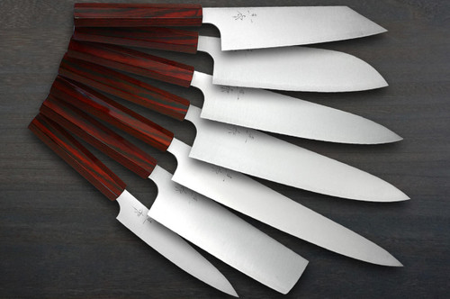 Kei Kobayashi R2 Special Finished CS Japanese Chefs Knife SET Gyuto210-Gyuto240-Slicer-Bunka-Santoku-Vegetable-Petty with Red Lacquered Wood Handle