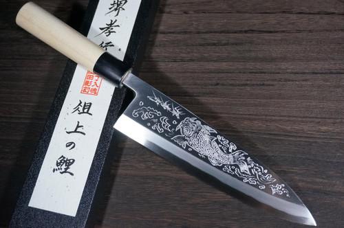 Sakai Takayuki Kasumitogi White steel Engraving Art Japanese Chefs Deba Knife 240mm Sojou-no-KoiCarp on Board