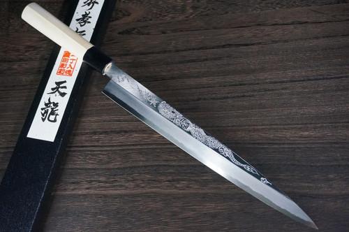 Sakai Takayuki Kasumitogi White steel Engraving Art Japanese Chefs YanagibaSashimi 300mm TenryuDragon
