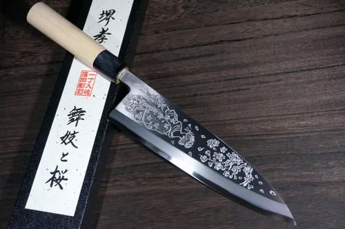Sakai Takayuki Kasumitogi White steel Engraving Art Japanese Chefs Deba Knife 210mm Maiko-to-SakuraGeisha and Cherry Blossoms