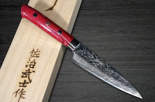 Takeshi Saji R2 Diamond Finish Damascus TCR Japanese Chefs Petty KnifeUtility 90mm with Red Turquoise Handle