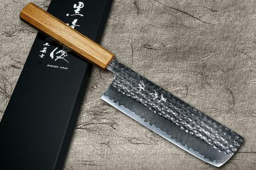 Yu Kurosaki R2SG2 Hammered SENKO WA OK8M Japanese Chefs NakiriVegetable 165mm with Urushi Lacquered Oak Handle