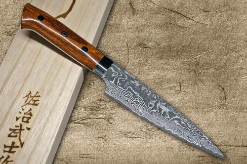 Takeshi Saji R2SG2 Black Damascus IR Japanese Chefs Petty KnifeUtility 150mm with Desert Ironwood Handle
