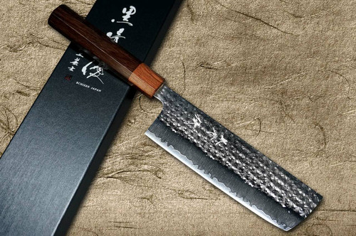Yu Kurosaki R2SG2 Hammered SENKO WA RS8H Japanese Chefs NakiriVegetable 165mm with Brown-Ring Octagonal Handle