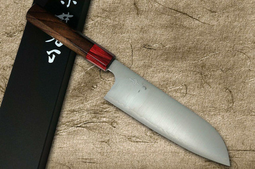 Kei Kobayashi R2 Special Finished RS8R Japanese Chefs Santoku Knife 170mm with Red-Ring Octagonal Handle