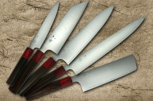 Kei Kobayashi R2 Special Finished RS8R Japanese Chefs Knife SET Gyuto210-Slicer-Bunka-Vegetable-Petty with Red-Ring Octagonal Handle