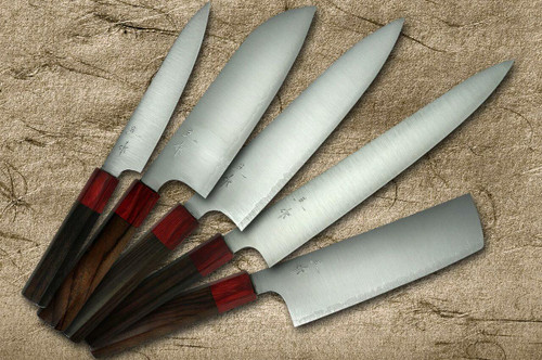 Kei Kobayashi R2 Special Finished RS8R Japanese Chefs Knife SET Gyuto210-Slicer-Santoku-Vegetable-Petty with Red-Ring Octagonal Handle