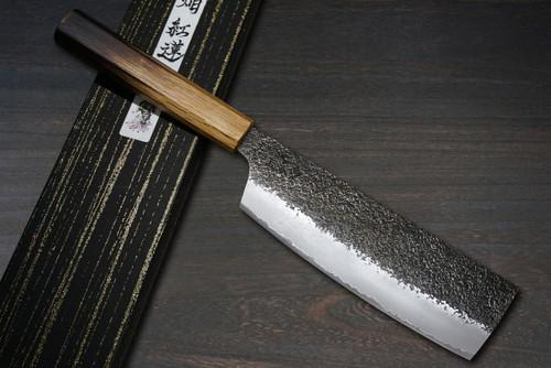 Sakai Takayuki Homura Guren Aogami 2 steel Japanese Chefs NakiriVegetable 180mm with Urushi Lacquered Oak Handle