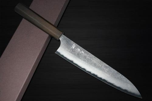 Yoshimi Kato Aogami Super Clad Nashiji EJ8B Japanese Chefs Gyuto Knife 210mm with Black Urushi Lacquered Enju Handle