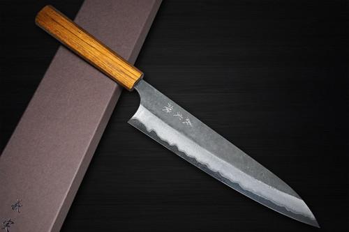 Yoshimi Kato Aogami Super Clad Kurouchi EJ8N Japanese Chefs Gyuto Knife 210mm with Urushi Lacquered Enju Handle