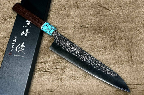 Yu Kurosaki SPG2 Clad FUJIN WA WGTCA Japanese Chefs Gyuto Knife 210mm with Blue Turquoise and Wenge Handle