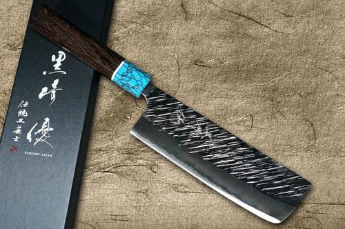 Yu Kurosaki SPG2 Clad FUJIN WA WGTCA Japanese Chefs NakiriVegetable 165mm with Blue Turquoise and Wenge Handle