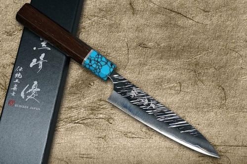 Yu Kurosaki SPG2 Clad FUJIN WA WGTCA Japanese Chefs Petty KnifeUtility 120mm with Blue Turquoise and Wenge Handle