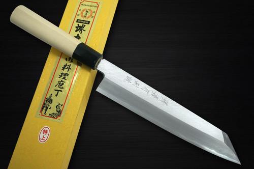 Sakai Takayuki Tokujyo Supreme White 2 steel Japanese Chefs Kengata-Gyuto Knife 210mm KIWAMIULTIMATE