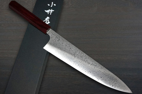 Kei Kobayashi R2 Damascus Special Finished CS Japanese Chefs Gyuto Knife 240mm Black with Red Lacquered Wood Handle